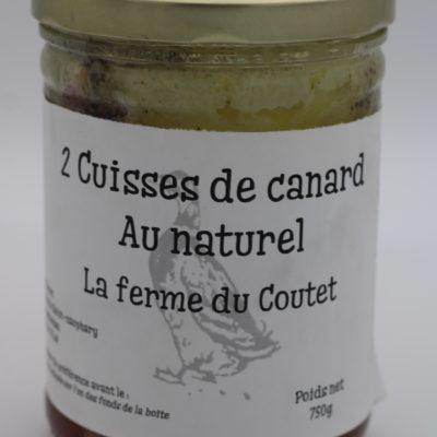 2 cuisses de canard au naturel en conserve de 750 gr de l'épicerie primeur nos champs occitans à montauban