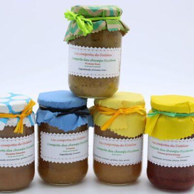 Compotes artisanales sans sucre ajouté de l'épicerie primeur nos champs occitans à montauban
