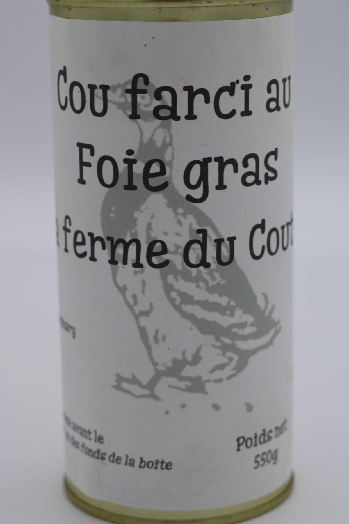 cou de canard farci eu foie gras en conserve de 550 gr de l'épicerie primeur nos champs occitans à montauban