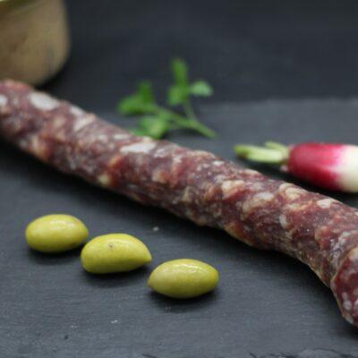 Demi saucisse sèche de l'aveyron de l'épicerie primeur nos champs occitans à montauban