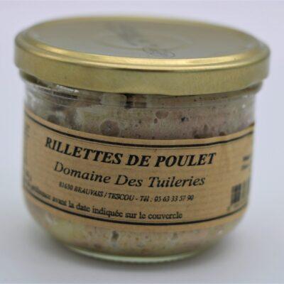 Rillettes de poulet en conserve de 180 gr de l'épicerie primeur nos champs occitans à montauban