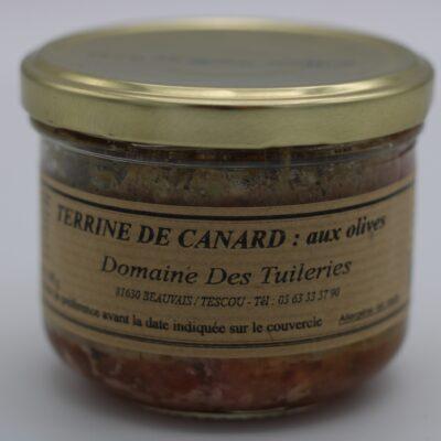 terrine de canard aux olives en conserve de 180 gr de l'épicerie primeur nos champs occitans à montauban
